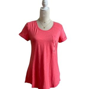 Style&Co Top Pink Burst Pocket Burnout Cuffed Tee